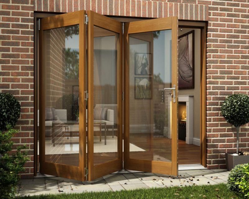 B&Q Oak Veneer Sliding Folding Patio Doorset - Brickwork Opening (H)2105 x (W)2405mm