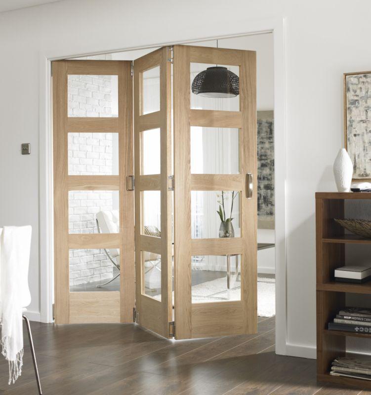 BampQ 3 Door Room Divider 4 Light Glazed Oak 183cm