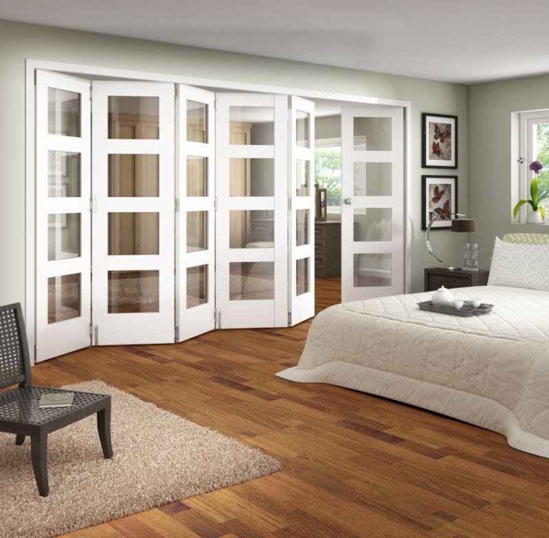 B&Q 6 Door Room Divider - Primed 4 Light Glazed White 366cm (W)