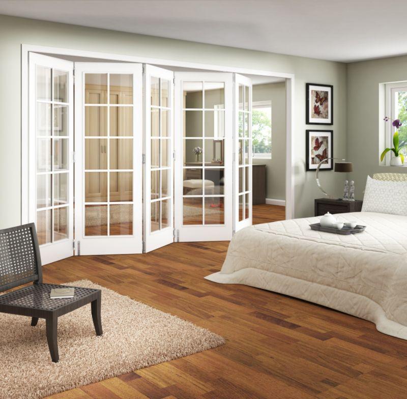 B&Q 5 Door Room Divider - Primed 10 Light Glazed White 305cm (W)