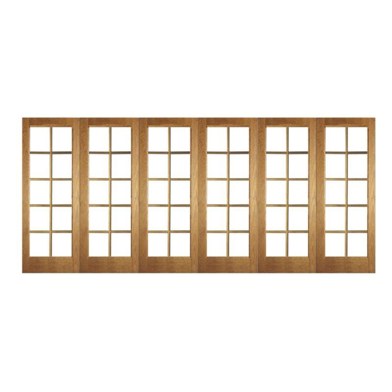 B&Q 6 Door Room Divider - 10 Light Glazed Oak 366cm (W)