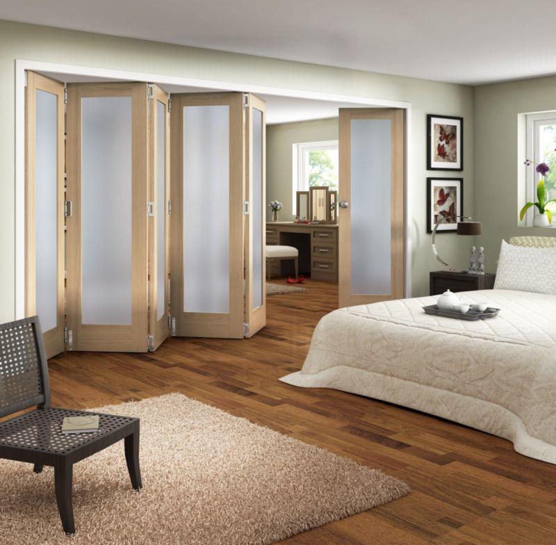 B&Q 6 Door Room Divider - 1 Light Glazed Oak 366cm (W)