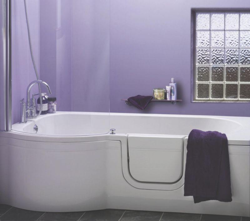 Cooke & Lewis Leonato Walk-In P-Shaped Showerbath Left Handed