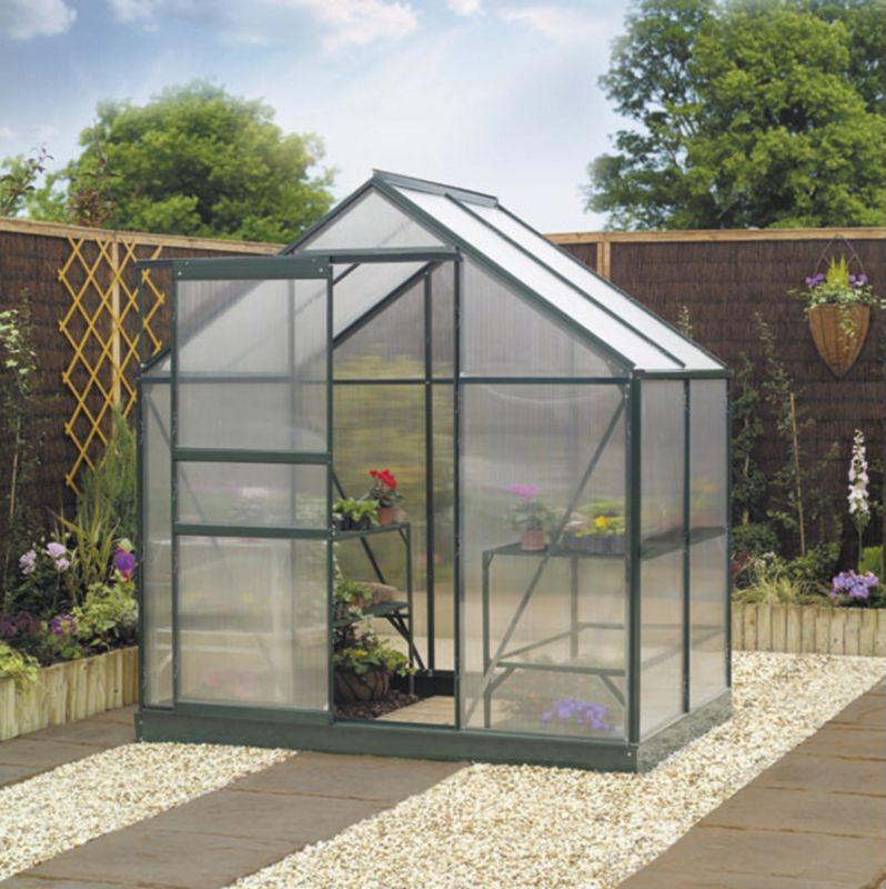 6x4 Green Greenhouse Frame & Base  Home Delivered