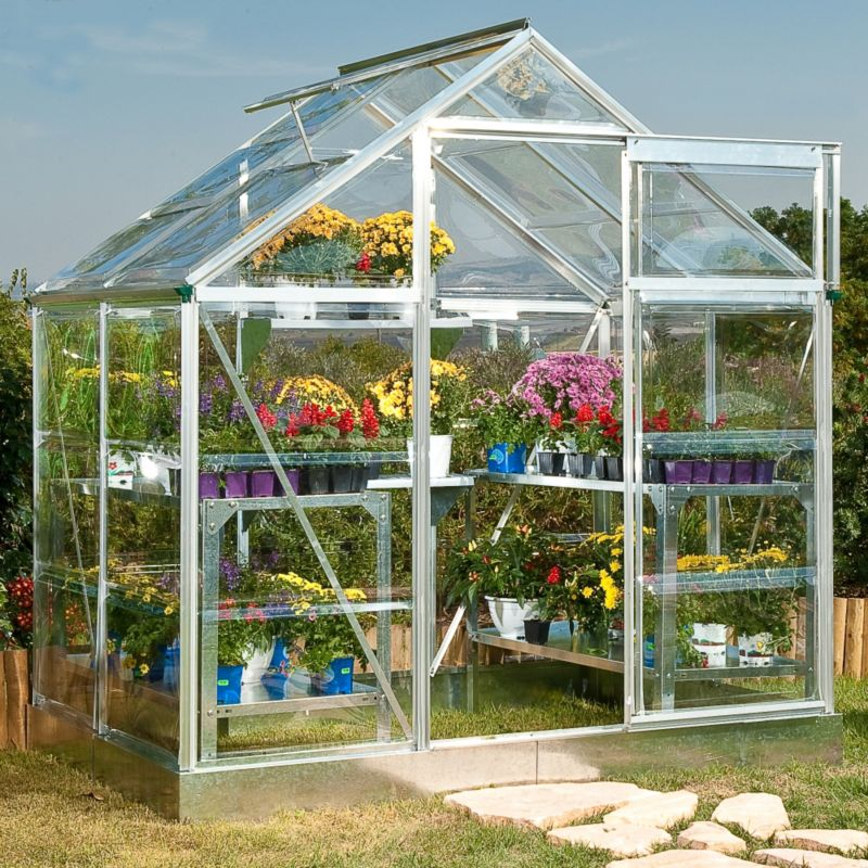 Model 4x6 - Aluminium Greenhouse Frame + Base + Polycarbonate Glazing