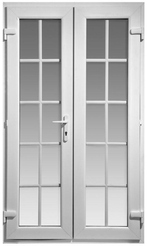 B q b q georgian pvcu white 20 lite clear glass french for Upvc french doors 1190 x 2090