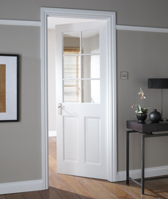B q b q avesta 6 lite primed clear glazed internal door - White doors with glass internal ...