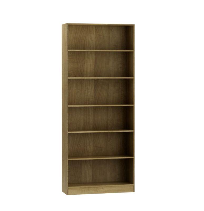 Miami Tall Wide Bookcase Walnut Effect