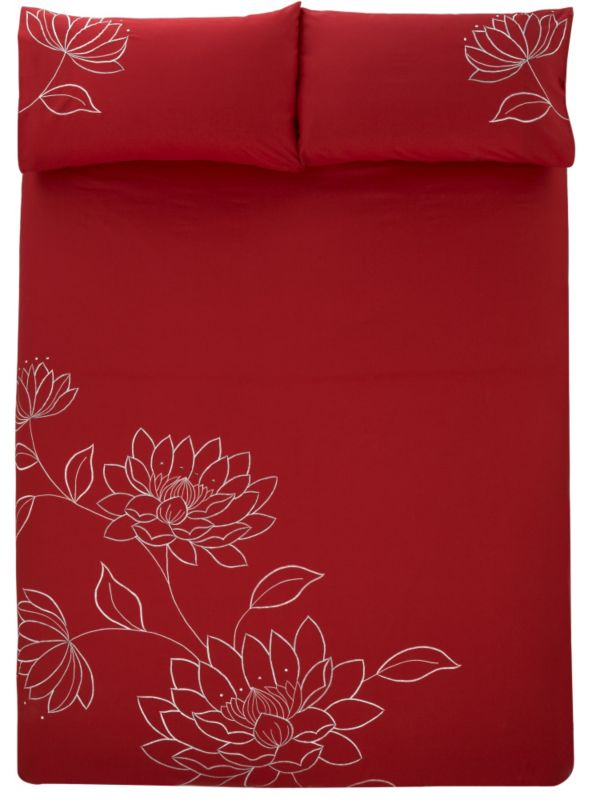 Emily Double Embroidered Duvet Set Red (L)200 x (W)200cm