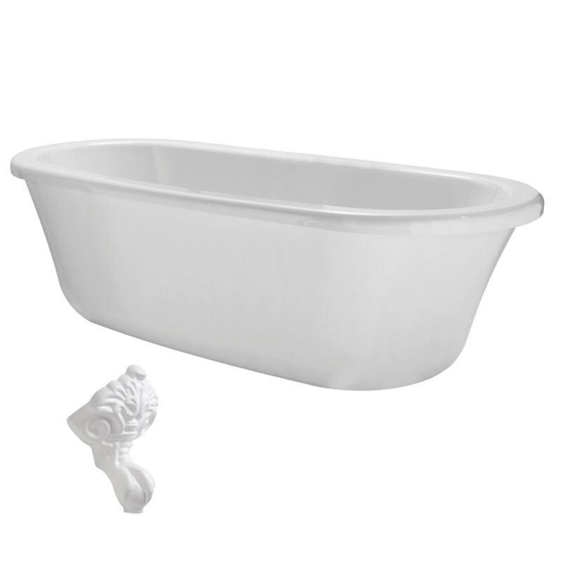 Cooke & Lewis Duchess Paintable Roll Top Bath with White Feet