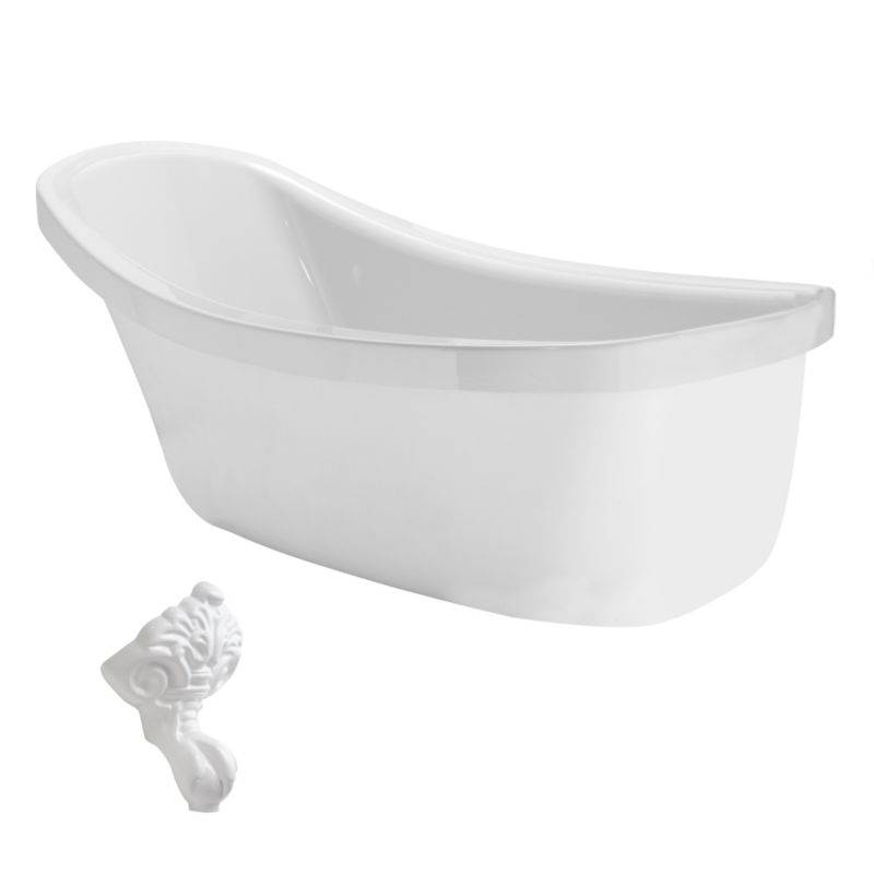Cooke & Lewis Duchess Paintable Slipper Claw Bath with White Feet (L)1750mm