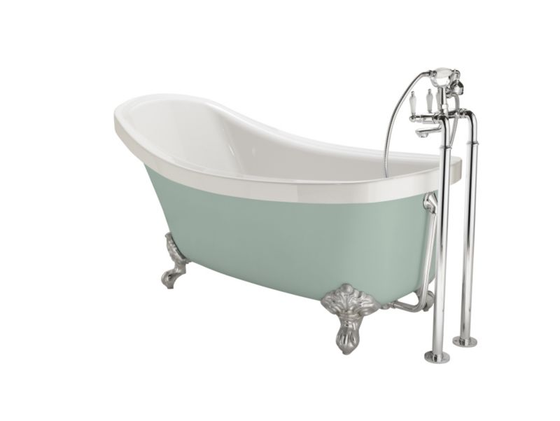 Cooke & Lewis Duchess Paintable Slipper Claw Bath with Chrome Feet (L)1750mm