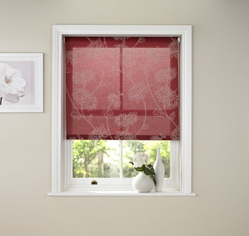 by BandQ Crysanthemum Roller Blind Red