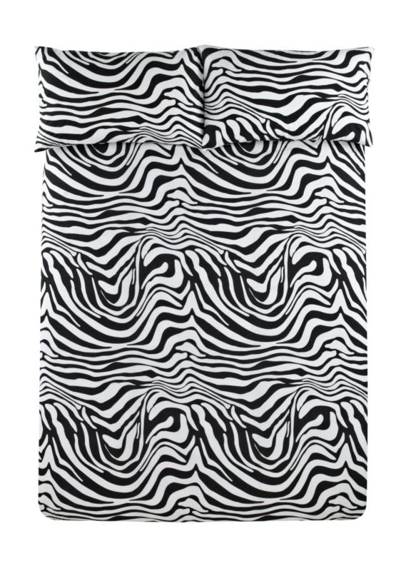 Colours by B&Q Zebra Print Duvet Set Double Black/White