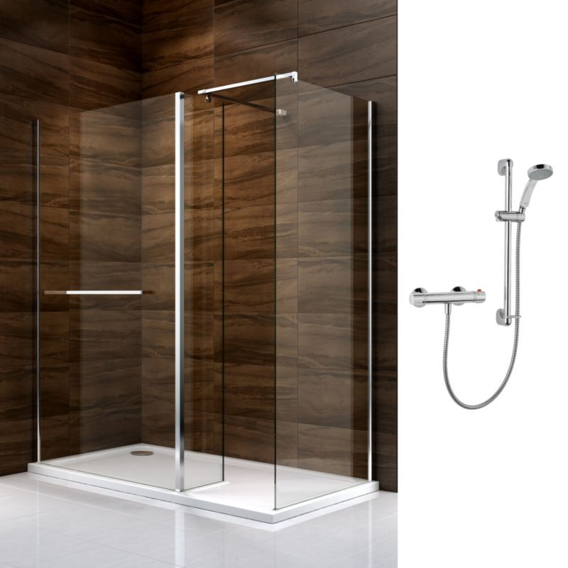 Cooke & Lewis Cascata Walk In Enclosure with Mira Atom Shower L/H