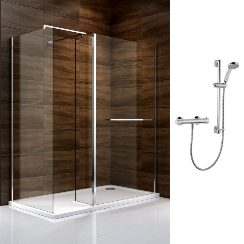 Cooke & Lewis Cascata Walk In Enclosure with Mira Atom Shower R/H