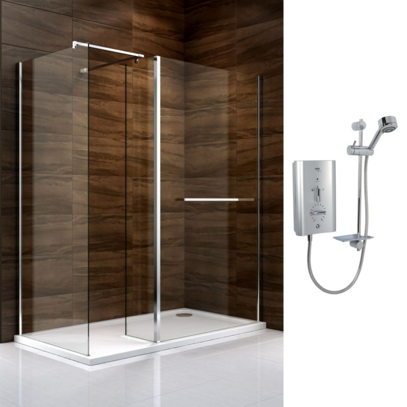 Cooke & Lewis Cascata Walk In Enclosure with Mira Escape Shower R/H