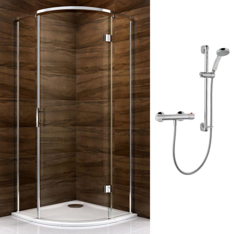 Cooke & Lewis Cascata Pivot Door Enclosure with Mira Atom Shower