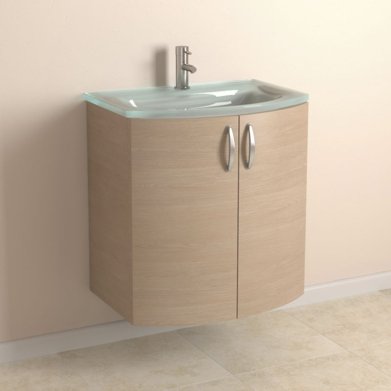 cooke and lewis vanity cabinet with glass basin and curved doors