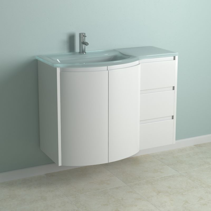 B+Q DIY, UK: Cooke & Lewis High Gloss White Curved Vanity
