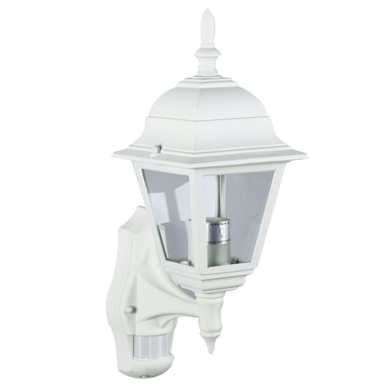 b q polperro outdoor wall light with pir in white wall light review compare prices buy online