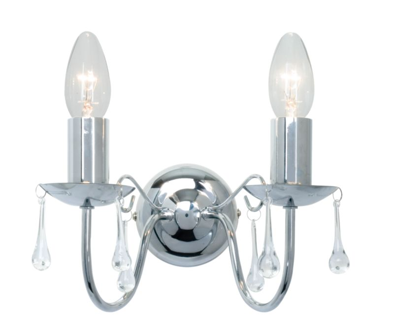 Wall Light Fitting Instructions : Albany 2 Light Wall Light 18607 Chrome Plated - review, compare prices, buy online