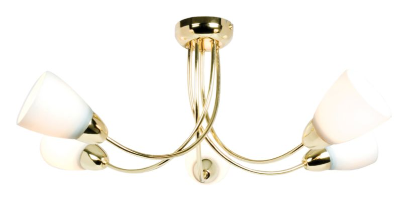 Virgo 5 Light Semi Flush Effect Brass 18704 60W
