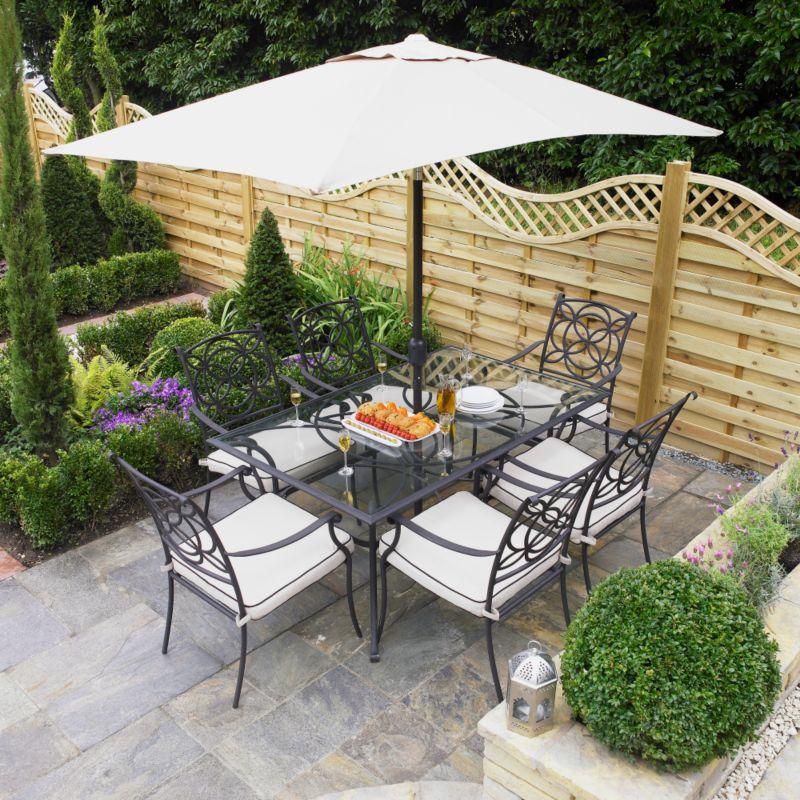 Marlow 6 Seat Dining Set With Rectangular Parasol