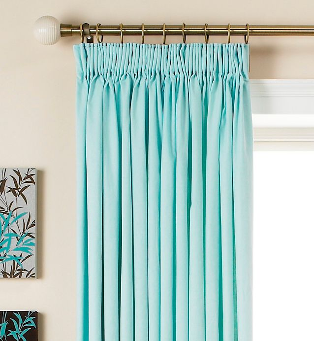Colours by BandQ Mali Pencil Pleat Curtains Sky