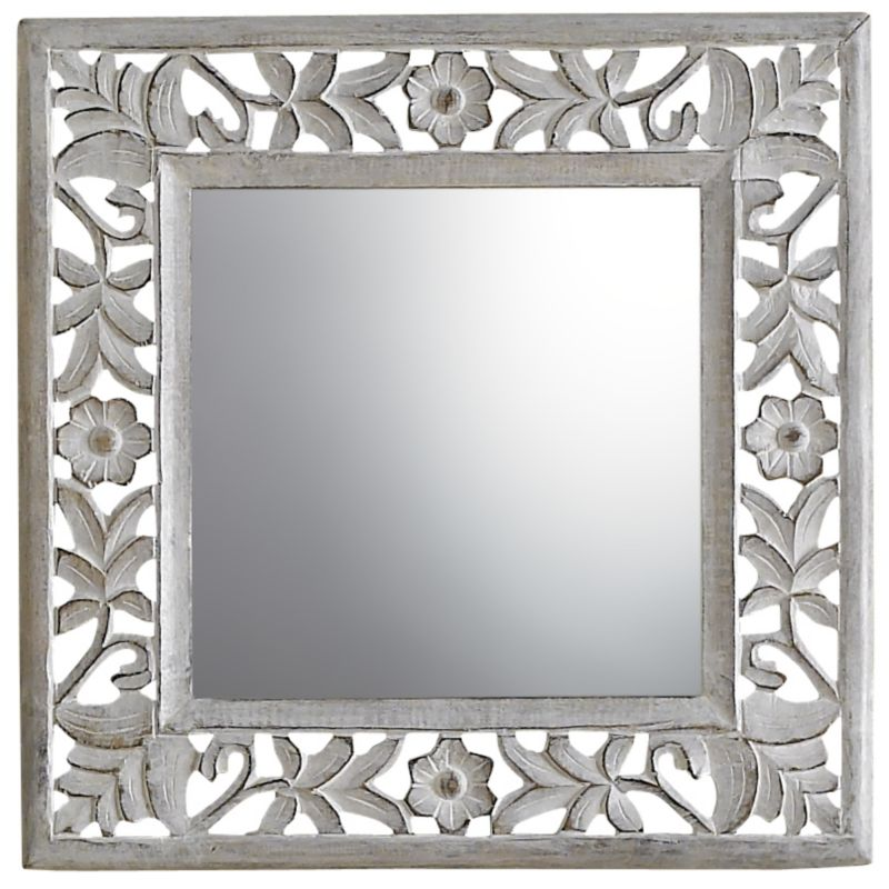 Mirror Framed Floral Juliet Cream 47x47cm