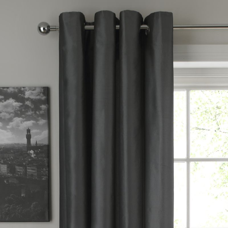 Colours by BandQ Metallic Eyelet Curtains Grey