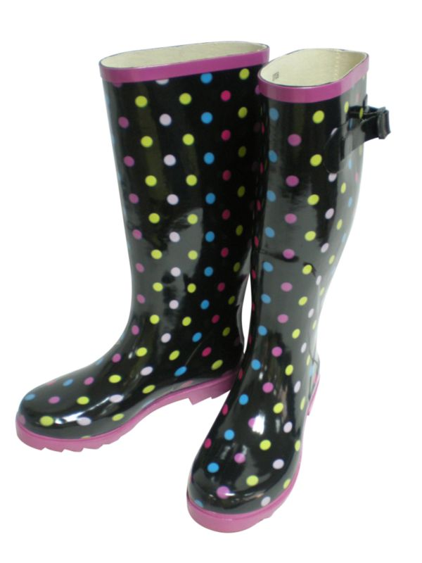 Wellingtons Black Spotted Size 6/39