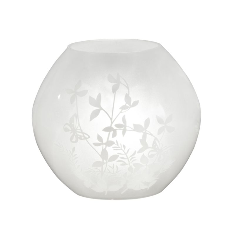 Lights by BandQ Fleur Glass Table Lamp White