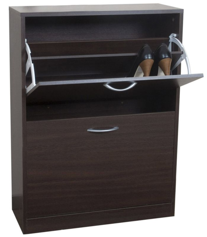 BandQ Select 2 Tier Shoe Cabinet Ebony Effect