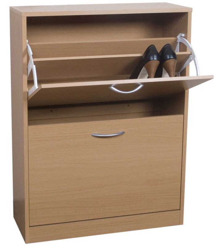 Select 2 Tier Shoe Cabinet Beech Effect