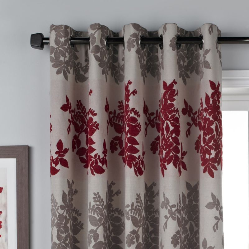 Bathroom shower curtains and matching accessories - By B Amp Q Charlotte Eyelet Curtains Red Natural W 168 X L 229cm
