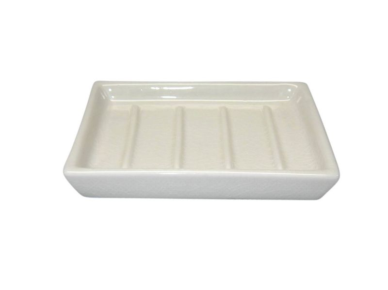 BandQ Crackled Ceramic Square Soap Dish Cream