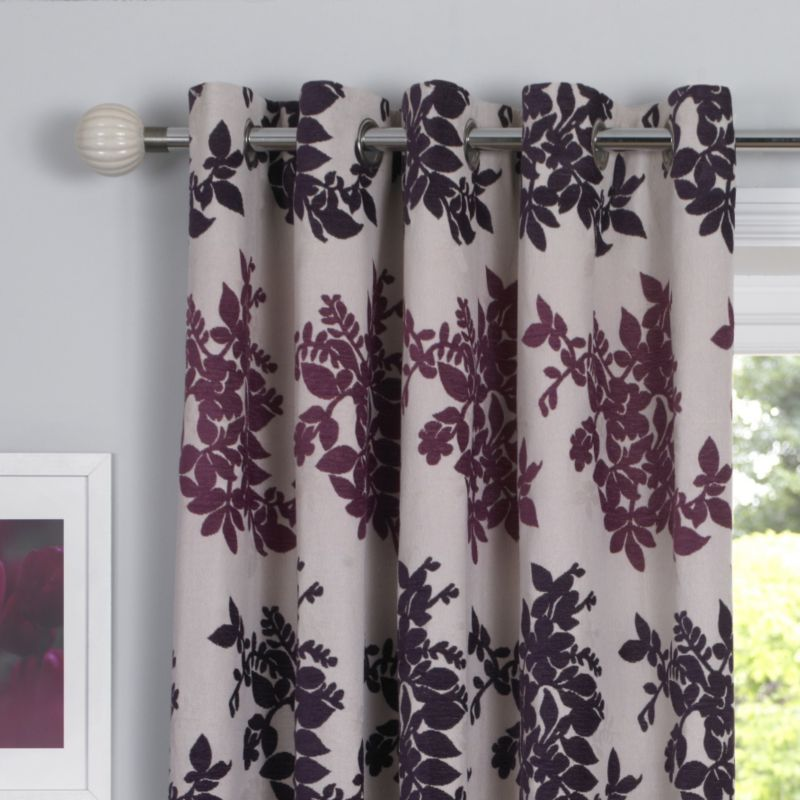 by BandQ Charlotte Eyelet Curtains Plum