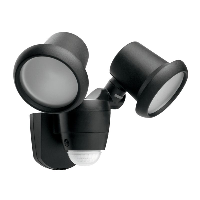 Photon Outdoor Security Twin Spotlight with PIR in Black