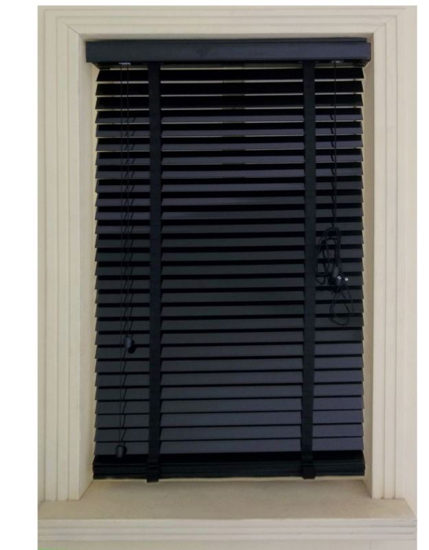 Silvia 50mm Wide Slat PVC Black Venetian Blind