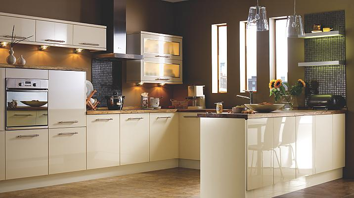 Gloss Cream Slab Kitchen Doors B Q
