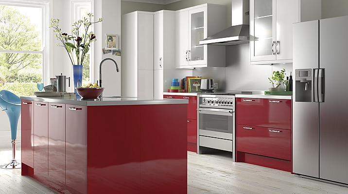 Kitchen cabinets kitchen rooms diy at b q for Red high gloss kitchen doors