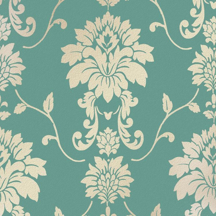 Classical Wallpaper in Turquoise and Gold with a Textured finish by A.S. Creation