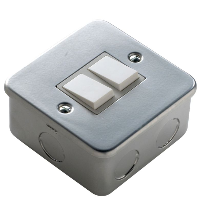 Marbo Light switch Double 2 Way 6Ax Metal Clad