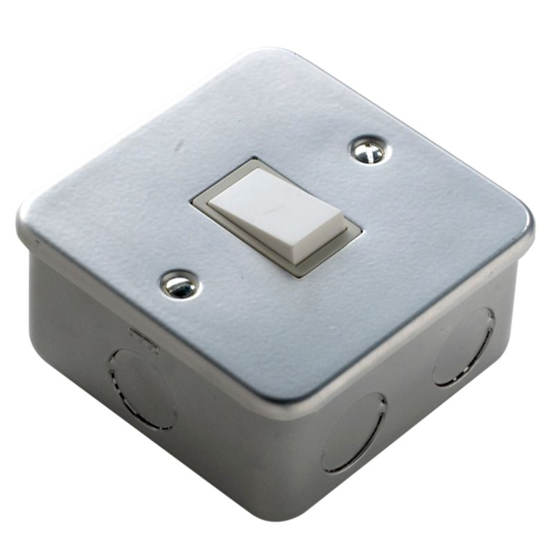 Marbo Light switch Single 2 Way 6Ax Metal Clad