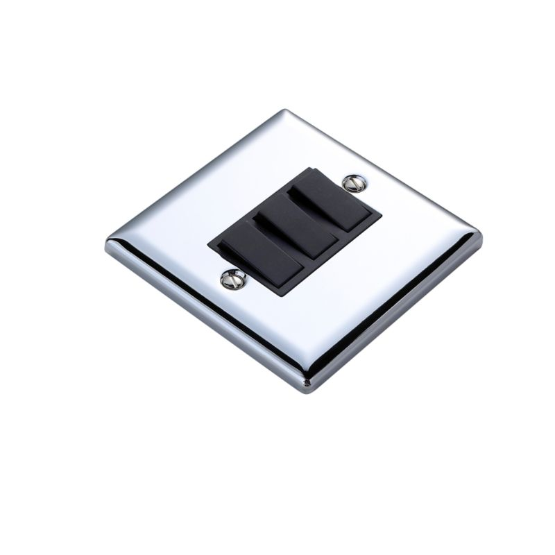 Volex Light switch Triple 2 Way 1AX Blk Int