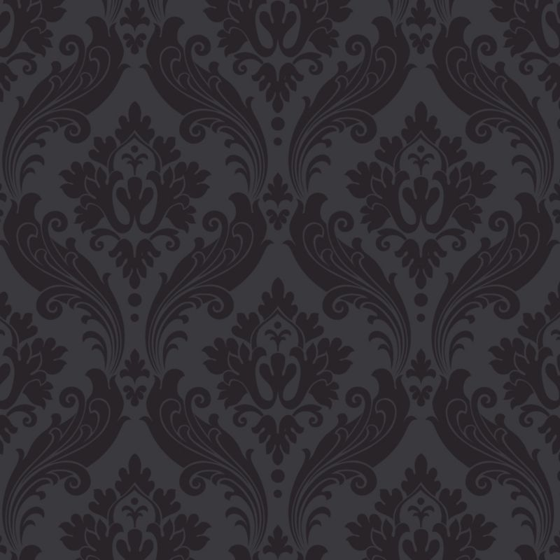 Vintage Paste the Wall Wallpaper in Black with Flock finish by Kelly ...