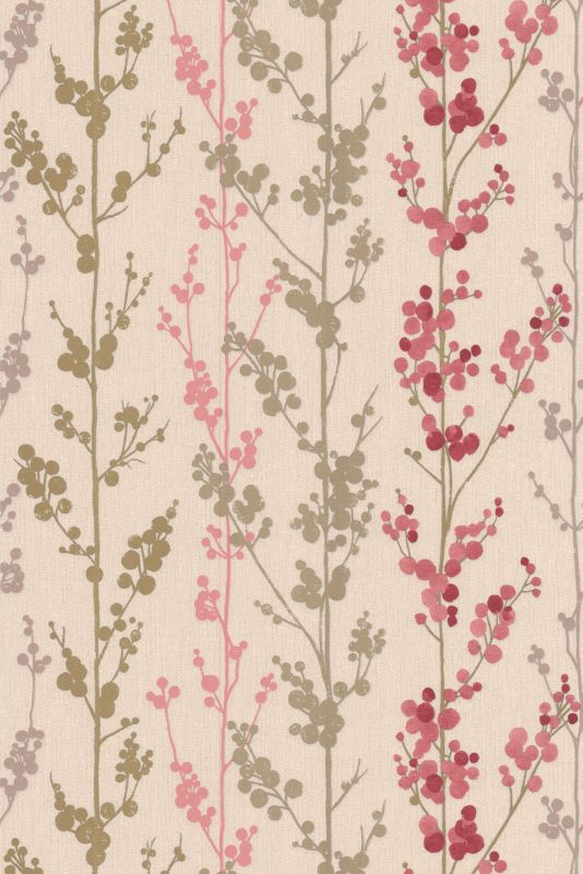 Berries Wallcovering Hot Pink