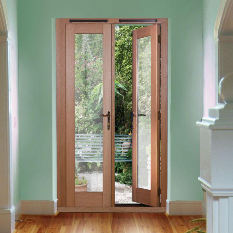6ft Freedom French Door White Oak Veneer (H)2090mm x (W)1790 x (D)820mm Gold Effect Handles