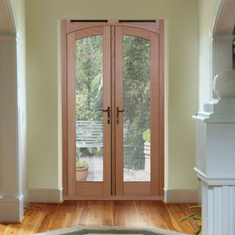 5ft Freedom Arch French Door White Oak Veneer (H)2090mm x (W)1490 x (D)820mm Gold Effect Handles